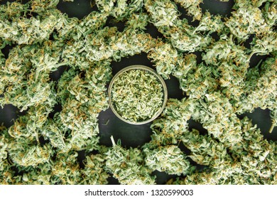 cannabis flowers close up rolled joint with marijuana against the background of fresh bud
