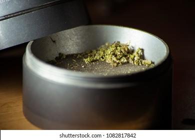 Cannabis in a grinder