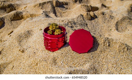 Cannabis and grinder