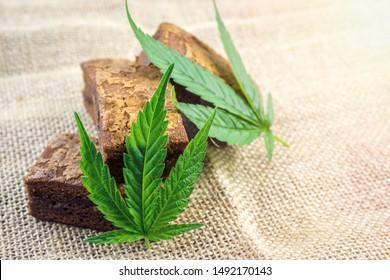 Cannabis Hash brownies with cannabis leaf on hemp cloth burlap