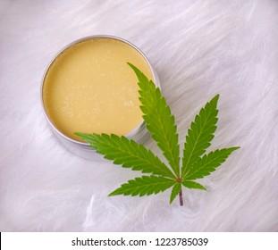 Cannabis hemp cream with marijuana leaf over white background - cannabis topicals concept