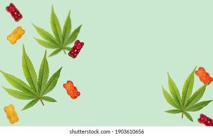 Cannabis leaf with CBD infused gummy bears. THC jelly candies. Marijuana edibles banner. Copy space. Anxiety treatment