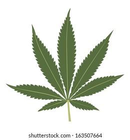 Cannabis leaf illustration isolated on white background