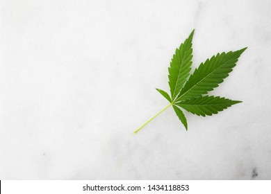 Cannabis leaf on marble surface with copy space.