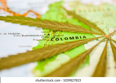 cannabis leaf on the world map Colombia