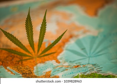 cannabis leaf on the world map America