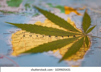 cannabis leaf on the world map Australia
