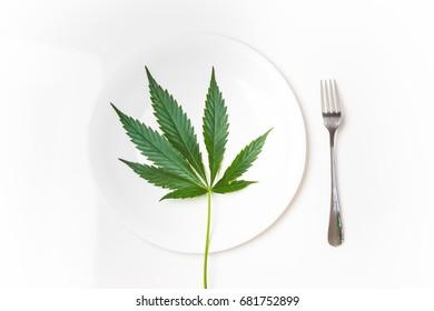 Cannabis leaf in a plate
