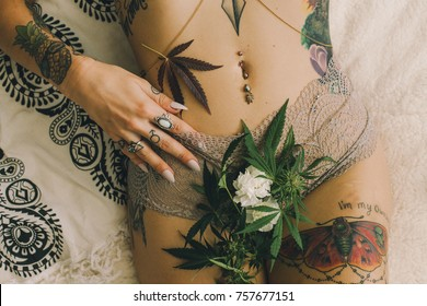 Cannabis Leaves and Lingerie