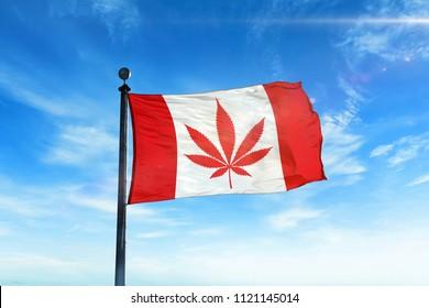 Cannabis legalization in Canada concept with a Cannabis icon flag waving.
