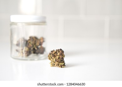 Cannabis Marijuana Flower Leaves in Jar