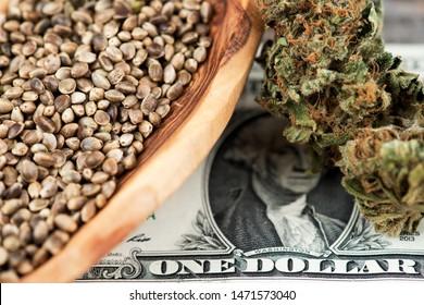 Cannabis Marijuana Hemp seeds in Wooden bowl and Cannabis Marijuana Hemp Buds on US Dollar Banknotes. CBD THC USD Hemp Seeds Cannabis Medical Marijuana Buds