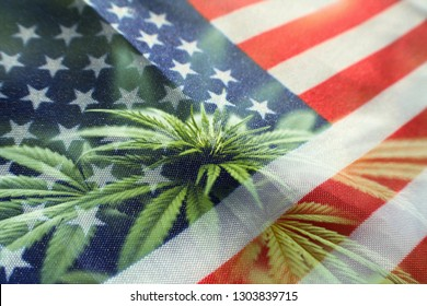 Cannabis Nation With American Flag With Marijuana Plant