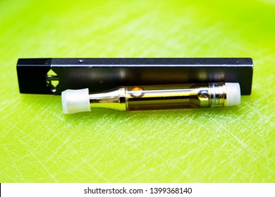 Cannabis Oil, Disposable Vape Cartridge. Vaping Marijuana, THC and CBD