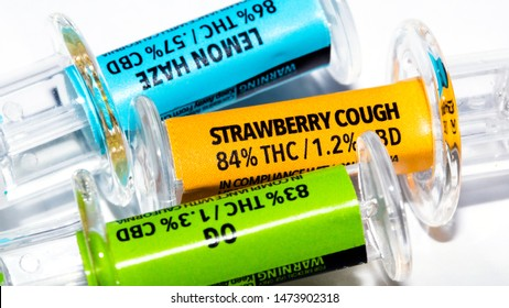 Cannabis Oil, Marijuana Products on White Background.