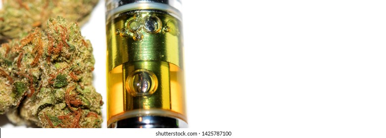Cannabis Oil and Vape, Panorama, Detail on White Background