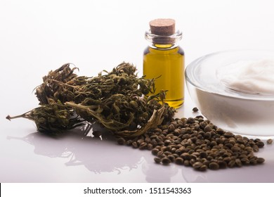 Cannabis oinment natural product. Cosmetic cream from natural hemp, moisturizing lotion with CBD content