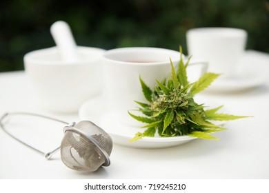 Cannabis auf der Tasse Tee und Tee