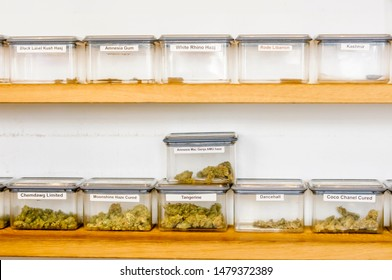 Cannabis resin and herbal marijuana in containers in a coffee shop in the Hague, Netherlands.