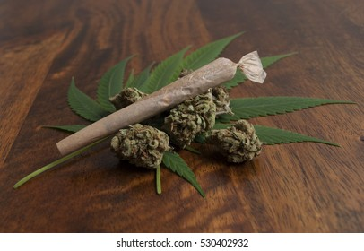Cannabis sativa flower buds and leaves, with a rolled weed joint