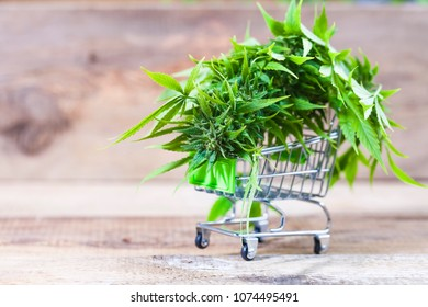 cannabis in a shopping trolley