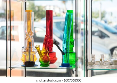 Cannabis smoking equipment for sale in shop in Spain. Recreational use of cannabis is allowed in some countries but not others.