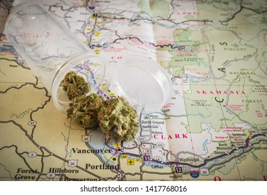 Cannabis spilling on map of Portland , OR