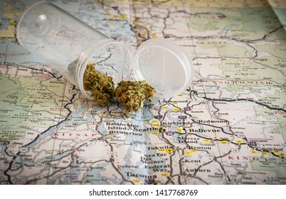 Cannabis spilling on a map of Seattle in Washington state