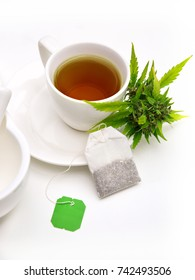 Cannabis tea with marijuana and tea bag