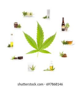 Cannabis and its usage. Marijuana leaf and edible marijuana products. Butter, tea, beer, energy drink, oil, chocolate, cookies and milk.