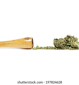 Cannabis Weed Pot Marijuana Bud on White Background