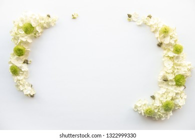 Cannabis White and Green Floral Arrangement with Nugs for Product Background Frame for Marijuana Products - Top Down