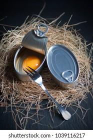 Canned aluminium preserves simulating hen egg shell