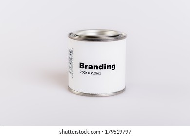 Canned branding with white background.
