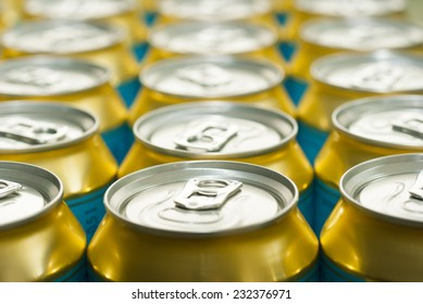 canned drinks in a row