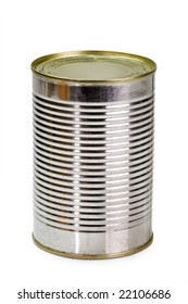 Canned food over white background