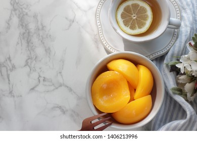 Canned food, peach and lemon tea