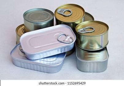 Canned food. Tinned food.
