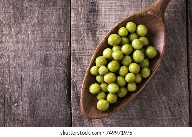 canned Green peas l on old wooden background,healthy vegan food