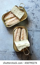 Canned mackerel fillets in a tin.Top view