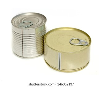 canned meat on a white background