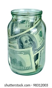 Canned money. Dollar banknotes inside glass jar
