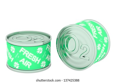 Canned oxygen, two green tins, rendered models