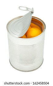 canned peaches on white background
