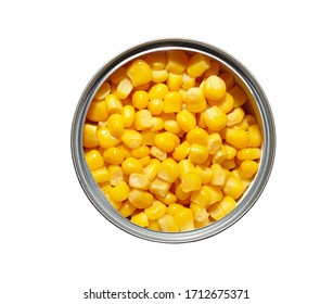 Canned pickled corn isolated on white background.The sweet corn in can,top view