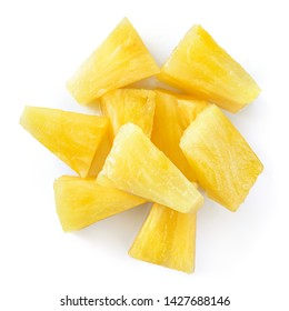 Canned pineapple chunks. Pineapple slices isolated. Pineapple top view.