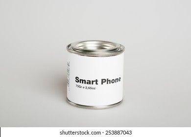 Canned smart phone with white background
