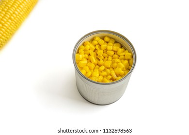 Canned Swee Corn on white Background