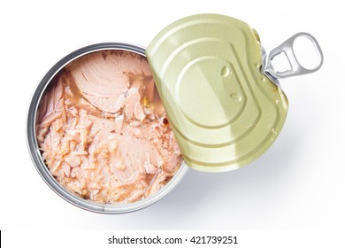 canned tuna isolated on white / Canned soy free albacore white meat tuna packed in water / open tuna tin on a white background