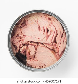 canned tuna isolated on white / Canned soy free albacore white meat tuna packed in water / open tuna tin on a white background / tuna fish isolated on white